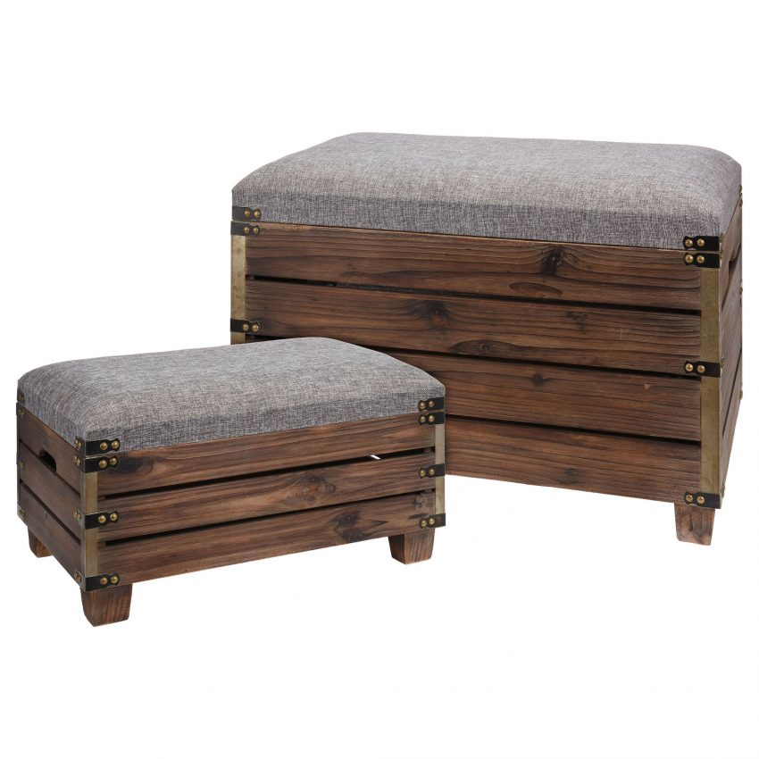 Indi Set of 2 Luxury Wooden Ottomans