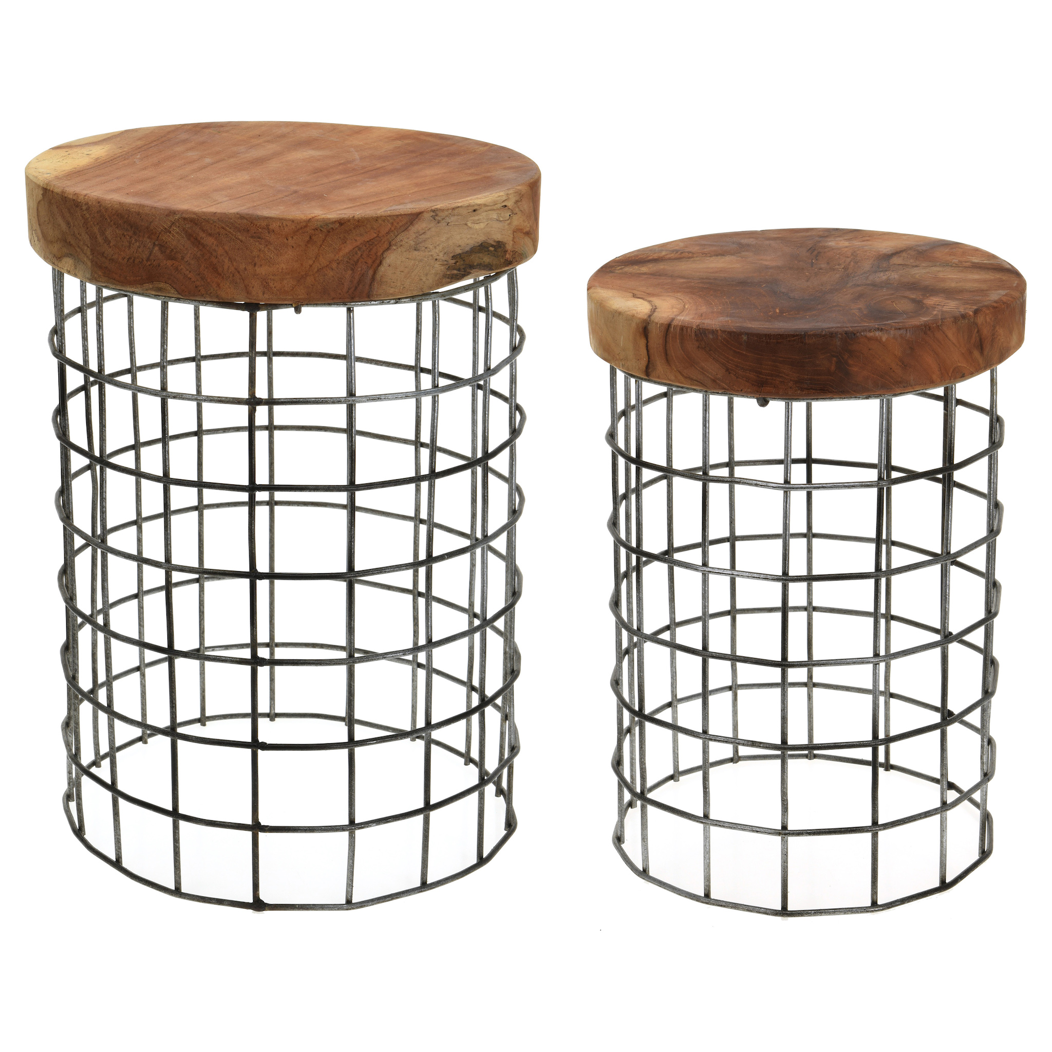 Set of 2 Round Teakwood stools