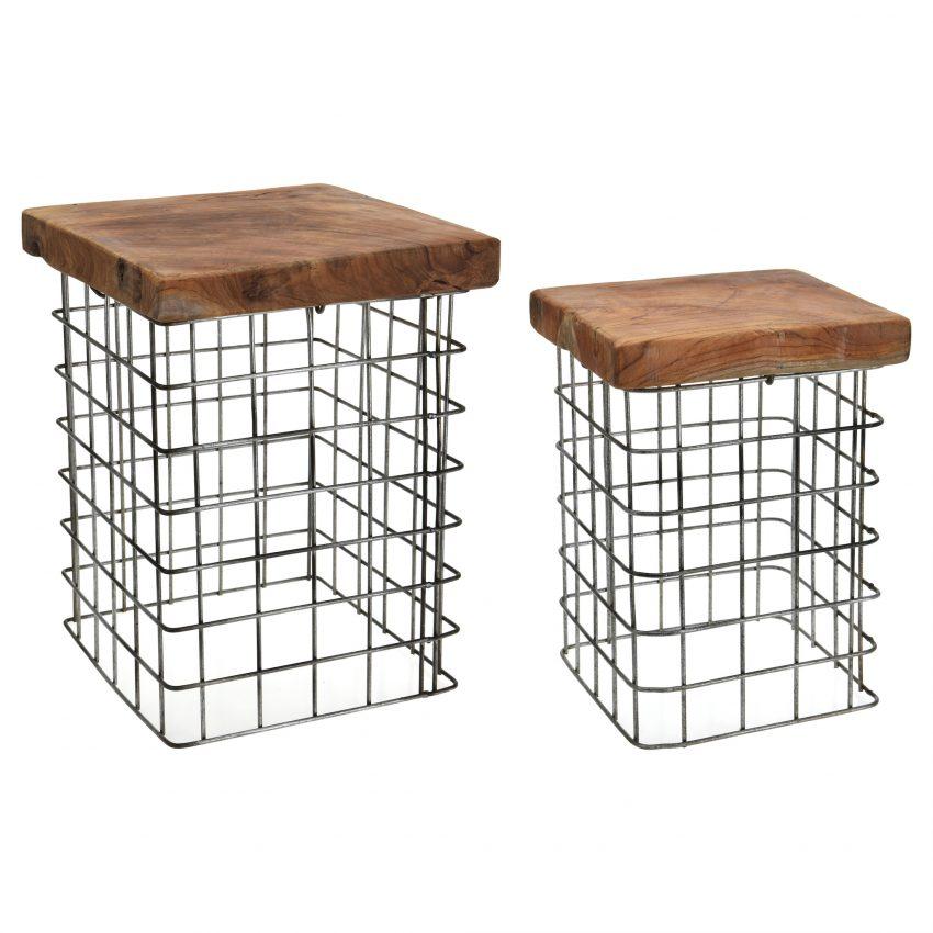 Set of 2 Square Teakwood stools