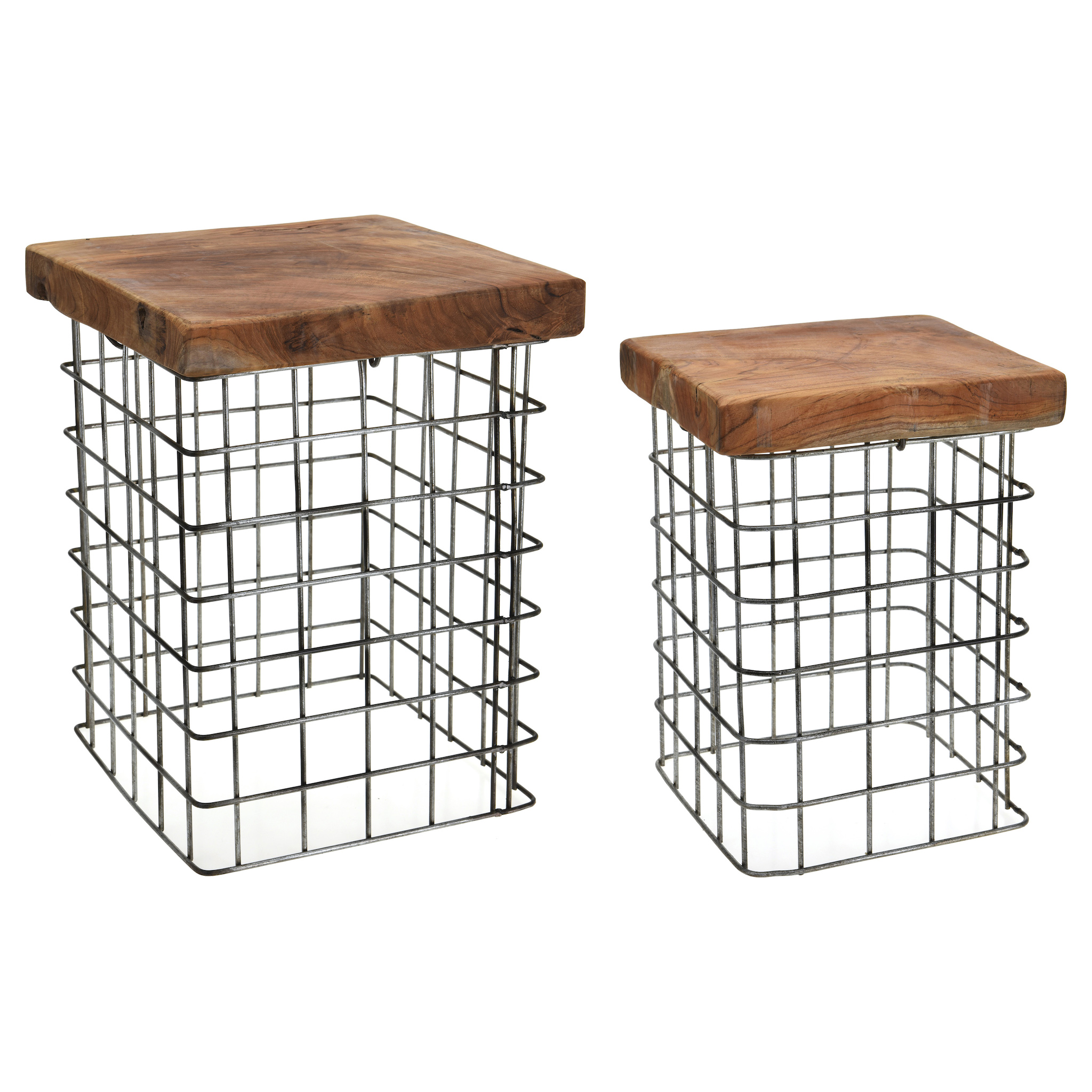 Set of 2 Square Teakwood stools