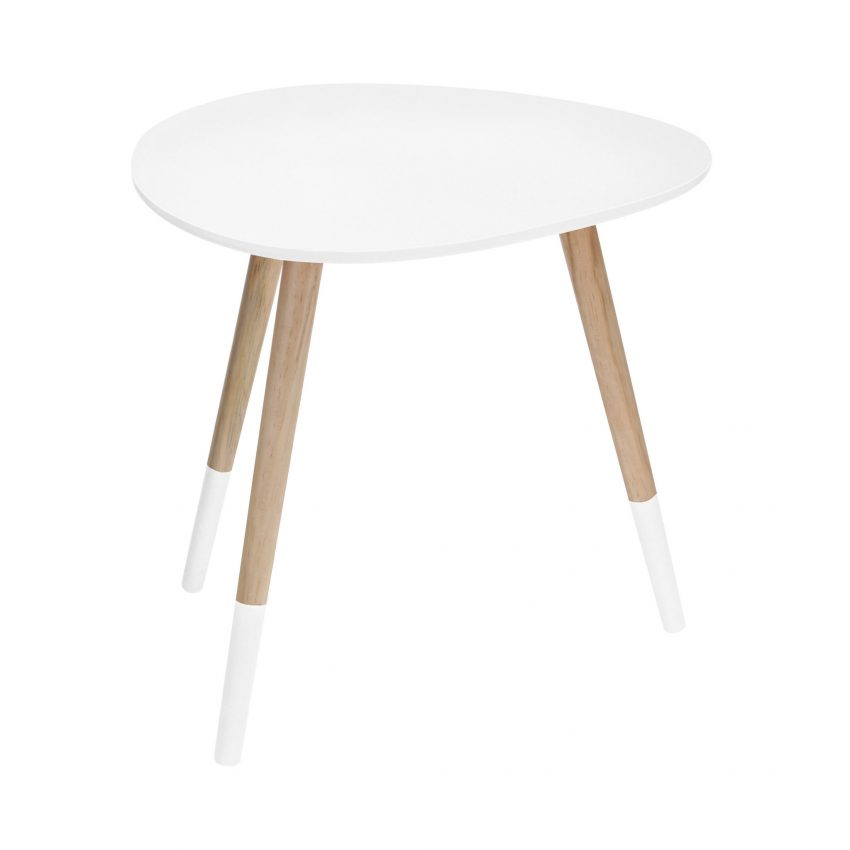 White Egg Shape Side Table