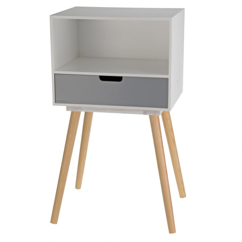 White and Grey Bed side Table