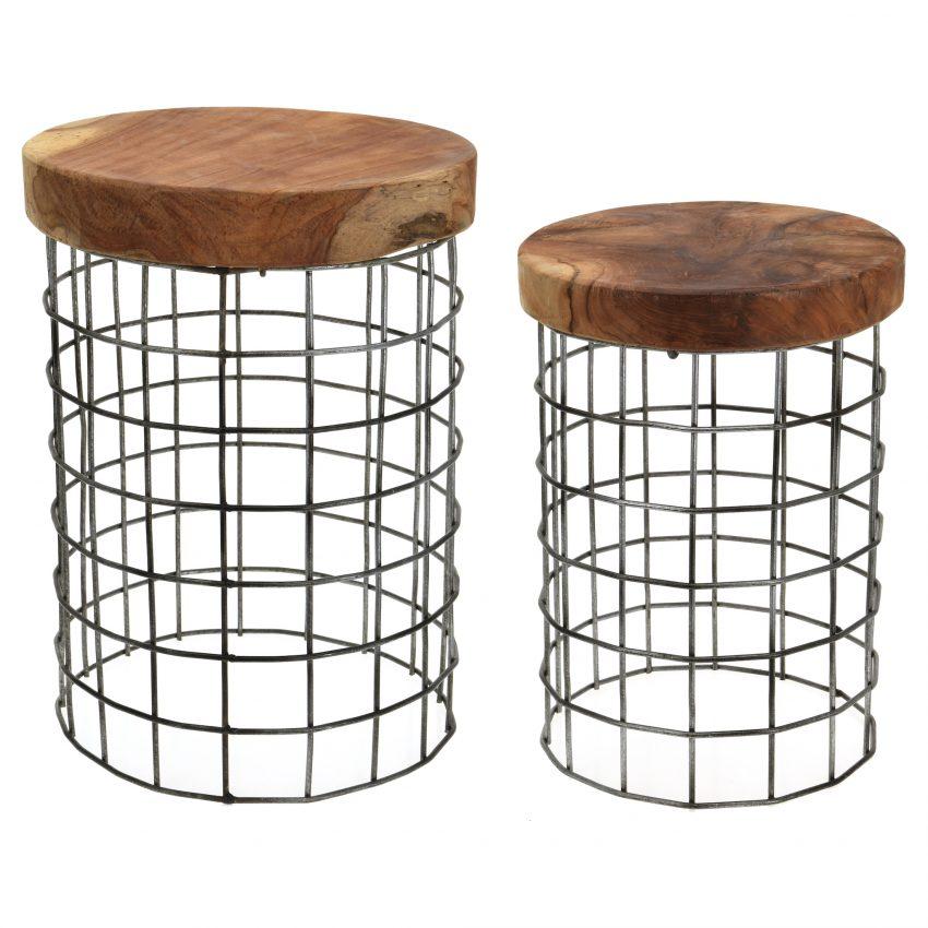 Set of 2 Round Teakwood stools